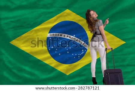 young beautiful woman is traveling to brazil - stock photo