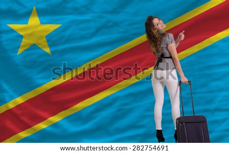 young beautiful woman is traveling to congo - stock photo