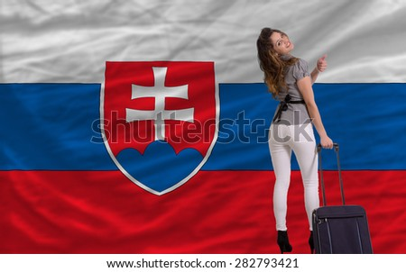 young beautiful woman is traveling to slovakia - stock photo