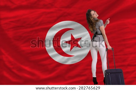 young beautiful woman is traveling to tunisia - stock photo