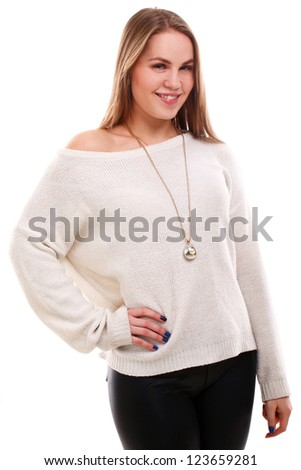 Young beautiful woman isolated on white background - stock photo