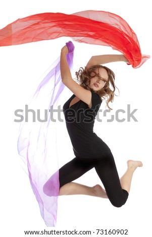 Young beautiful woman jumping on an isolated white background,
