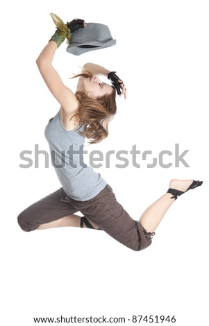 Young beautiful woman jumping on an isolated white background