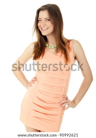 Young beautiful woman  on the white background - stock photo