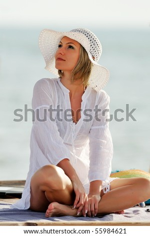 young beautiful woman outdoor in summer - stock photo