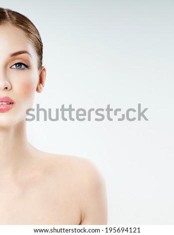 young beautiful woman. perfect skin - stock photo