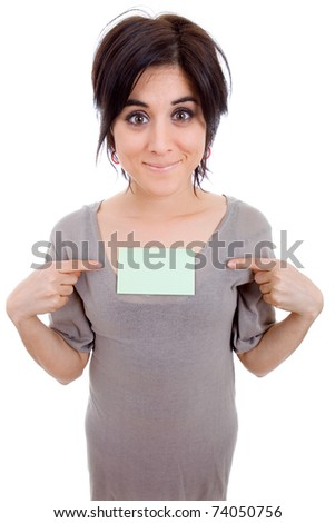 young beautiful woman pointing to a card, isolated