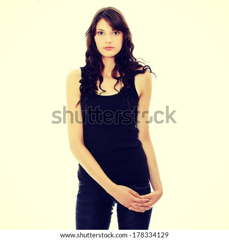 Young beautiful woman portrait, isolated on white backgrund - stock photo