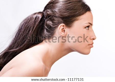 young beautiful woman portrait, profile - stock photo