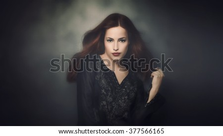 young beautiful woman portrait, studio shot - stock photo