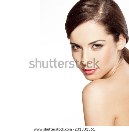 young beautiful woman posing on a white background - stock photo