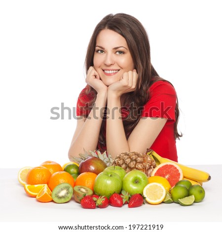 Young beautiful woman posing with various fruits, isolated on white
