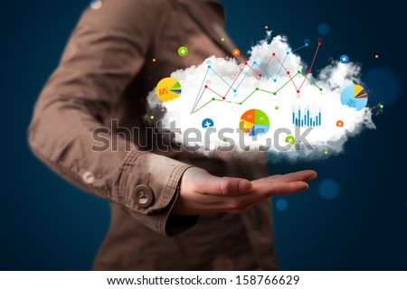 Young beautiful woman presenting cloud with charts and graph icons and symbols - stock photo