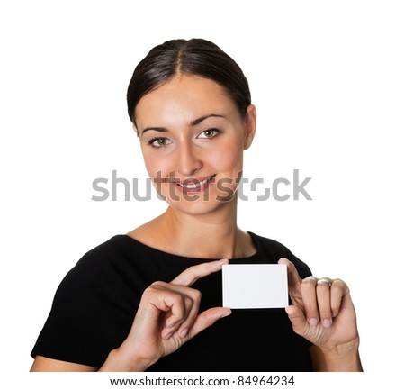 Young beautiful woman presenting her business card - stock photo