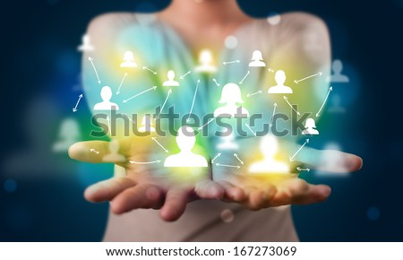 Young beautiful woman presenting modern technology social network map - stock photo