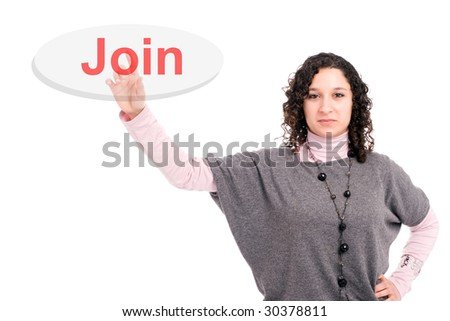 Young beautiful woman pressing the join key, isolated