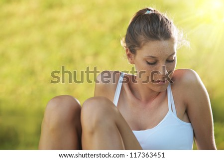 Young beautiful woman relax - stock photo
