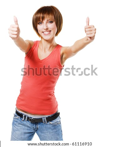 "Young beautiful woman showing ""Thumbs up"" sign. Isolated on white background - stock photo"