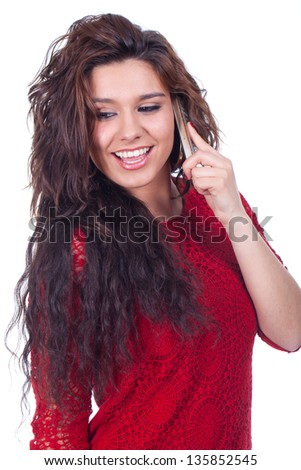 Young beautiful woman smiles to your cellular.... - stock photo