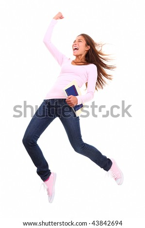 Young beautiful woman student gesturing of success being very excited. Isolated on white background. - stock photo