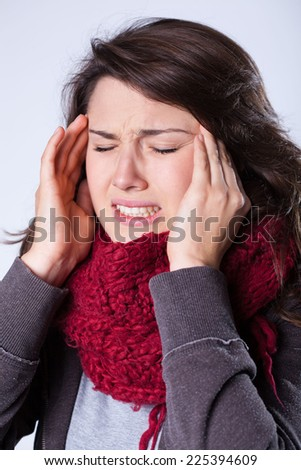 Young beautiful woman suffering for sinusitis - stock photo