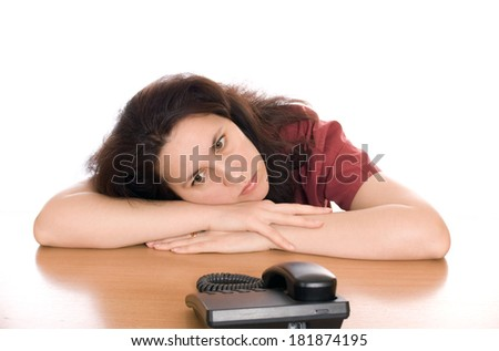 Young beautiful woman waiting for call isolated - stock photo