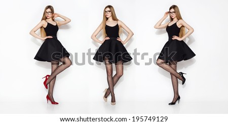 Young beautiful woman wearing skirt high heels and long hair