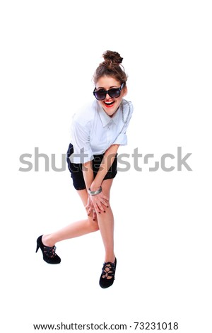 young beautiful woman wearing sunglasses isolated over white background