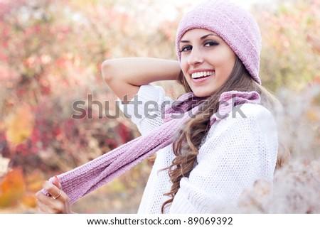 Young beautiful woman wearing winter clothing - stock photo