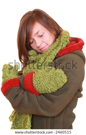 young beautiful woman - winter portrait - isolated on white - stock photo