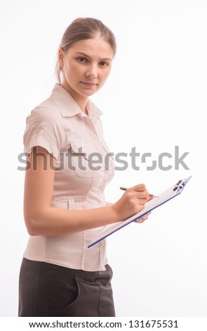 Young beautiful woman with a clipboard