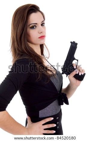 young beautiful woman with a gun, isolated - stock photo