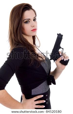 beautiful girl holding a black handgun hot girls wallpaper
