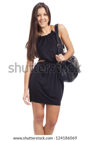 young beautiful woman with black bag woman... - stock photo