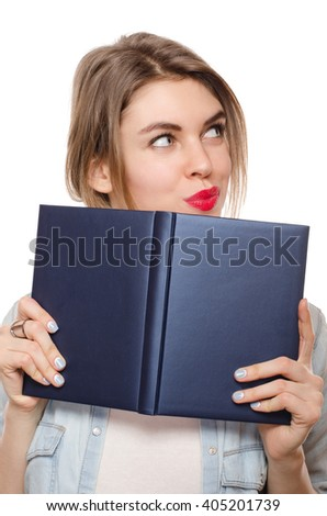 young beautiful woman with book isolated on white background - stock photo