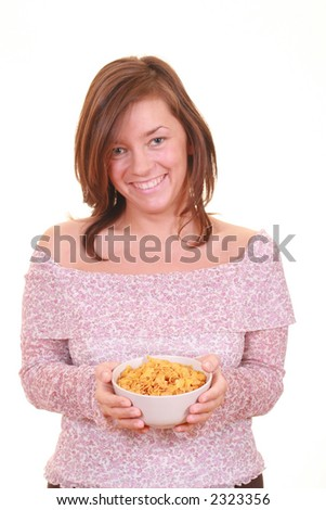 young beautiful woman with bowl of cereals - healthy life - isolated on white