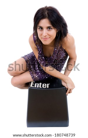 young beautiful woman with 'enter' sign. - stock photo
