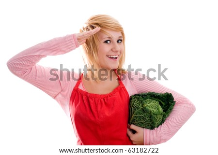 young beautiful woman with fresh savoy cabbage on white background - stock photo