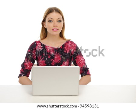 Young beautiful woman  with laptop on white background - stock photo
