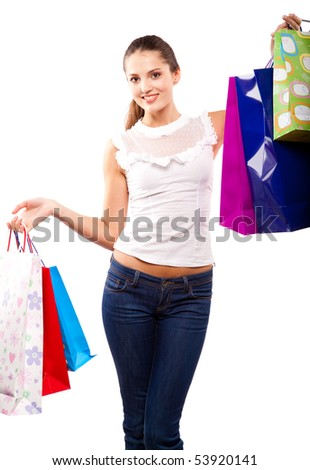young beautiful woman with many color packages