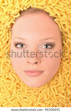 Young beautiful woman with pasta - stock photo