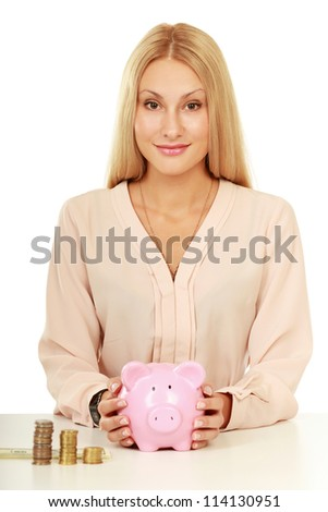 Young beautiful woman with piggy bank (money box), isolated on white background - stock photo