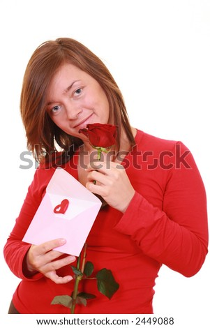 young beautiful woman with pink envelope and red rose isolated on white - stock photo