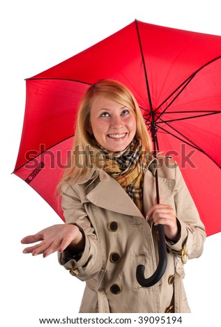 Young Beautiful Woman with red umbrella