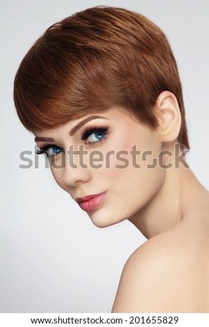 Young beautiful woman with stylish short haircut - stock photo