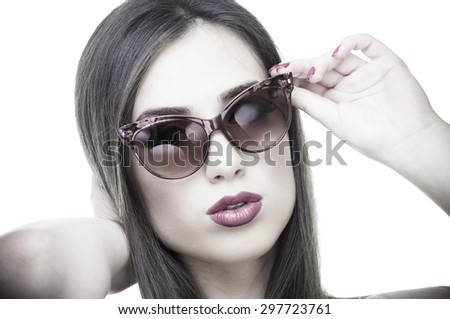 Young beautiful woman with sunglasses on a white background - stock photo