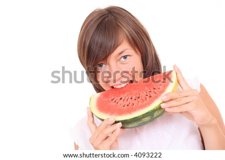 young beautiful woman with watermelon isolated on white - stock photo
