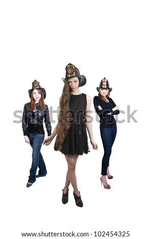 Young beautiful women firefighters waiting for action - stock photo