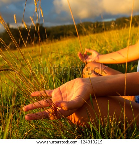 Young beautiful women practicing yoga - stock photo