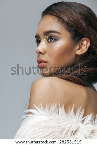 young beauty african american mulatto woman with fashion make up, emotional face closeup - stock photo